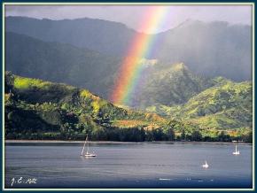 Paradise:  Brilliant Hanalei Rainbow, august 2004